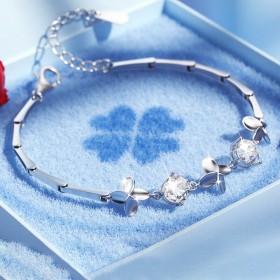 四叶草银手链女生日礼物送老婆送女友闺蜜情侣时尚个性