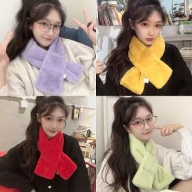 韩版毛纯色围巾女秋冬季学生围脖潮流少女款