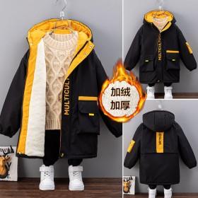 男童加绒加厚外套秋冬季新款夹棉中大童帅气中长款棉衣