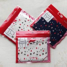 3条专柜款独立装圣诞印花纯棉女内裤