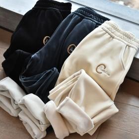 【600克樱花裤】秋冬女装加绒加厚水貂绒显瘦老爹裤