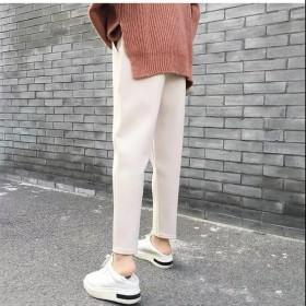 哈伦裤女秋冬高腰宽松毛呢裤子奶奶裤