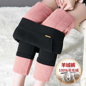 冬季加绒加厚羊绒裤女外穿小脚保暖羊毛裤高腰显瘦秋冬