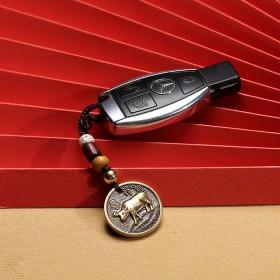 十二生肖虎兔羊龙蛇猴鸡狗猪黄铜编织汽车钥匙扣挂件