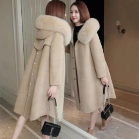 送毛领仿羊剪绒大衣女优质版中长款冬连帽皮草外套