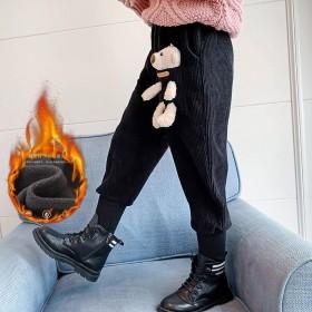 女童灯芯绒裤子加绒加厚秋冬大儿童冬季休闲长裤