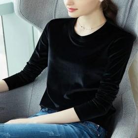 丝绒长袖打底衫女2020新款秋冬显瘦百闲大码女装