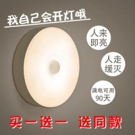 2个充电led节能灯小夜灯人体感应灯声控感应不插电