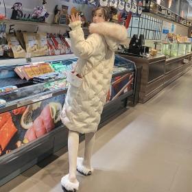 棉服女2020雪花刺绣韩版加厚中长款棉袄大毛领棉衣