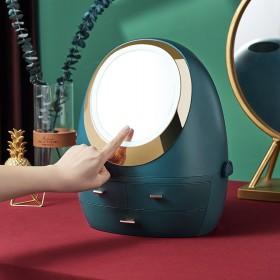 奢华带LED灯带镜子抽屉式化妆架桌面护肤品收纳盒