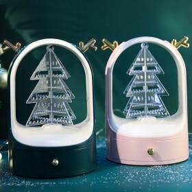 新款360度旋转圣诞首饰架创意礼品轻奢饰品收纳盒