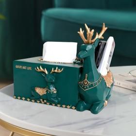轻奢桌面摆件高.档客厅纸巾盒遥控器收纳盒