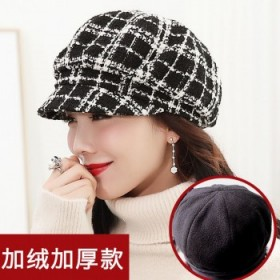 帽子女士秋冬加厚鸭舌八角帽韩版中老年人贝雷帽