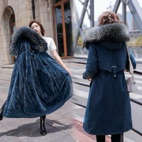 冬季新款大毛领羽绒派克棉服棉衣女加绒加厚中长款韩版