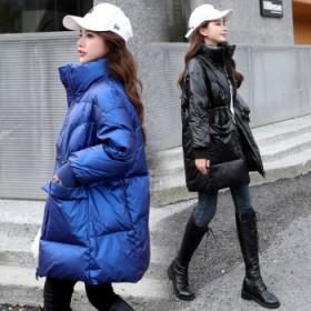 羽绒服女白鸭绒亮面中长款冬宽松收腰面包服外套