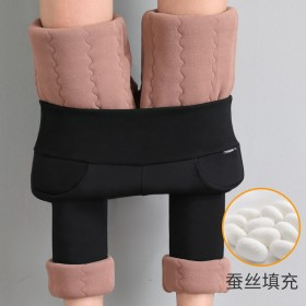蚕丝棉裤女外穿大码加绒加厚高腰弹力小脚打底裤保暖裤