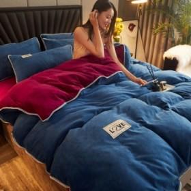 加厚牛奶绒四件套双面法兰绒水晶绒珊瑚绒被罩被套床单