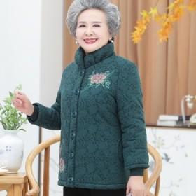 中老年人冬装女奶奶棉衣加绒加厚棉袄妈妈外套老人棉服