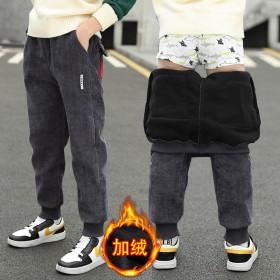 男童加绒裤秋冬季大童棉裤加厚灯芯绒