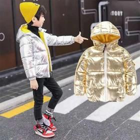 男童女童金色银色太空服羽棉衣男童面包服金银色短款棉
