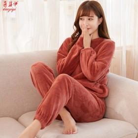 秋冬季加厚珊瑚绒保温睡衣女青年学生居家宽松时尚套装