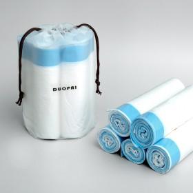 家用白色提绳垃圾袋客厅厨房分类塑料垃圾袋单卷15只