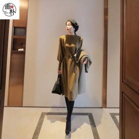 灯笼袖针织名媛连衣裙女装2020秋冬季新款洋气收腰