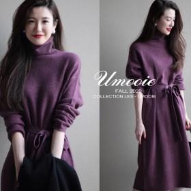 时尚花纱紫罗兰色冬季新款收腰系带中长款气质显瘦针织