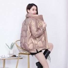 免洗亮面白鸭绒羽绒服女冬季宽松短款外套显高显瘦