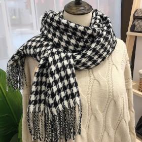 千鸟格冬季围巾女新款韩国仿羊绒保暖流苏披肩加厚围脖