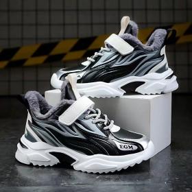 童鞋男童运动鞋秋冬新款加绒款皮面防水中大童跑步波鞋