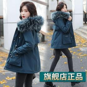 冬季派克服女新款小个子加绒加厚棉服时尚显瘦中长款棉
