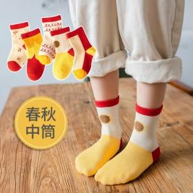 5双装秋冬新款精梳棉袜子卡通宝宝袜童袜儿童男女童袜