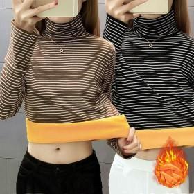 秋冬季韩版新款加绒加厚高领打底衫保暖内搭条纹T恤女
