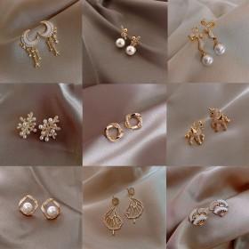 925银针珊瑚形状闪钻镶珍珠耳环耳钉女时尚新款设计