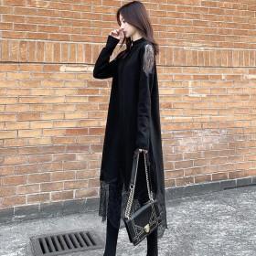 新款女秋冬大码长款针织连衣裙女蕾丝露肩拼接黑色打底