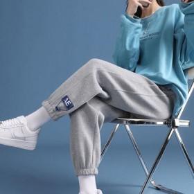 加绒加厚灰色运动裤子女学生宽松束脚秋冬大码显瘦外穿