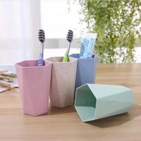 创意小麦秸秆菱形杯刷牙杯漱口杯家用情侣牙刷杯