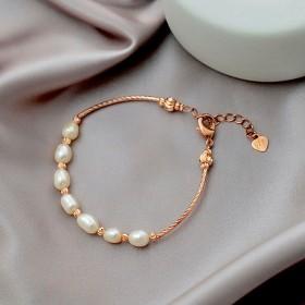 珍珠编织手镯玫瑰金手链首饰学生