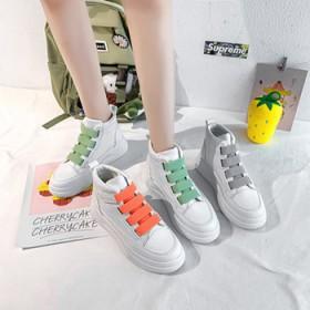 高帮小白鞋女2021春季新款韩版彩色魔术贴厚底学生