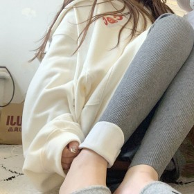 加绒不加绒螺纹打底裤女外穿冬黑色高腰加厚保暖长裤子
