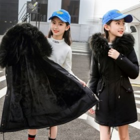 女童派克服冬装中长款中大童加绒外套加厚羽绒棉服