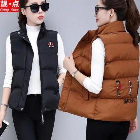 马甲女短款韩版大码修身加厚羽绒棉背心坎肩棉衣外套