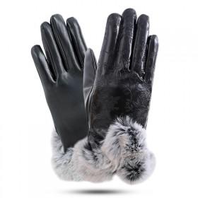 女皮手套保暖户外加绒手套骑行防风加厚防水