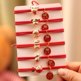 红色本命年金属中国风生肖新牛年发圈发饰头绳牛气冲天