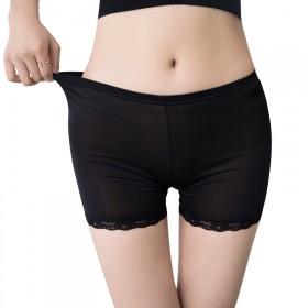 新款夏季女生冰丝三分安全裤防走光裤蕾丝花边短裤莫代