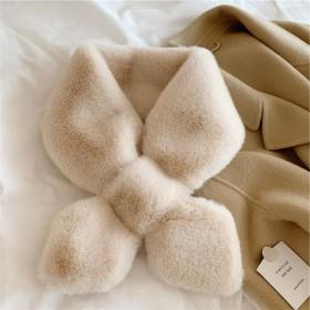 韩国chic风秋冬纯色毛毛围脖保暖仿獭兔毛交叉围巾