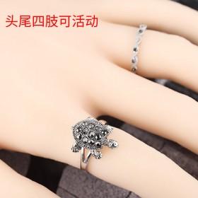 复古可爱个性招财好运小乌龟镶黑钻新年戒指环男女情侣