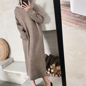 2020新款毛衣裙女中长款宽松慵懒风套头针织衫时尚