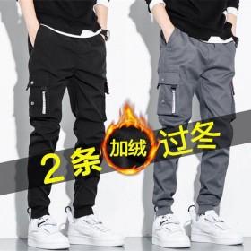 2条加绒工装裤男潮牌宽松休闲长裤秋冬裤子韩版束脚裤